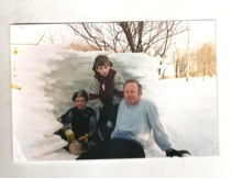 Joe with sons Jacob (left) and Milo (center) in upstate New York in the mid 1990s