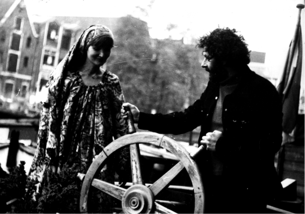Nico with a friend on a houseboat (Amsterdam canal, circa 1978)