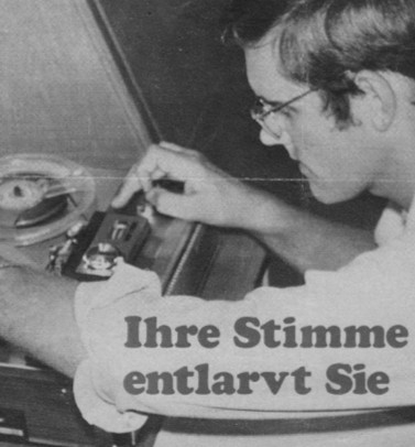 Klaus working with audiotapes for his thesis, 1963