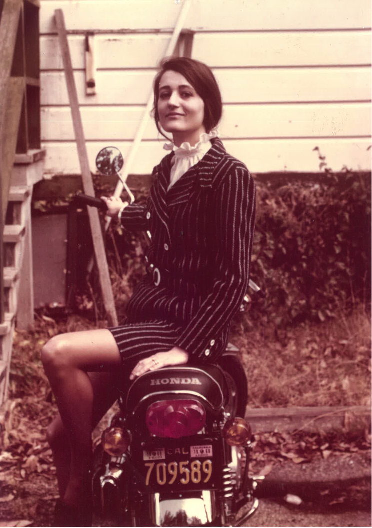 Phoebe on a motorcycle, circa 1965